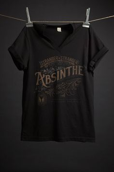 Absinthe T-Shirt by Stranger & Stranger. For fans of the green fairy and beautiful typography.