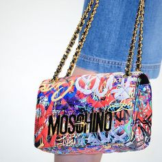 One of our many new arrivals: Moschino FW15 runway graffiti bag!  #moschino