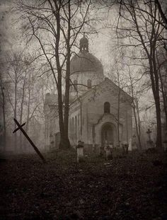 Abandoned Cemetery and Church in the woods