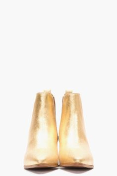 SAINT LAURENT Metallic Gold Leather Chelsea Ankle Boots