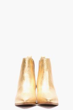 SAINT LAURENT Metallic Gold Leather Chelsea Ankle Boots♥♥♥♥♥♥♥♥♥♥♥♥♥♥♥♥♥♥♥ fashion consciousness ♥♥♥♥♥♥♥♥♥♥♥♥♥♥♥♥♥♥♥