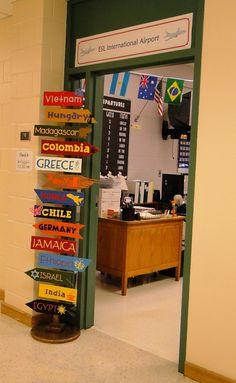 Geography Classroom, Social Studies Classroom, Middle School Classroom, Classroom Setup, Classroom Displays, Classroom Activities, Classroom Organization, Spanish Classroom Door, Autism Activities