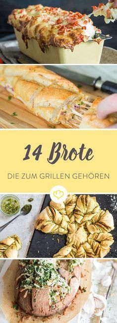 Das Beste am Grillen sind nicht die saftigen Steaks und die krossen Würstchen, sondern diese 14 genialen Brote - gefüllt, überbacken und gegrillt. *** Best BBQ Sidedish Bread Bbq Party, Food Porn, Party Food Snacks, Snacks Recipes, Party Finger Foods, Bread Recipes, Cooking Recipes, Baguette, Bbq Grill