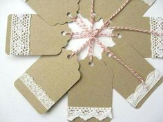 price tags, care instructions, thank yous, business stamped... I LOVE THE LACEY LOOK! Like lace or doily