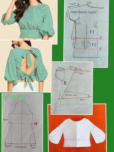 Back neck design Dress Sewing Patterns, Sewing Patterns Free, Clothing Patterns, Blouse Sewing Pattern, Pattern Drafting, Diy Clothing, Sewing Clothes, Fashion Sewing, Diy Fashion