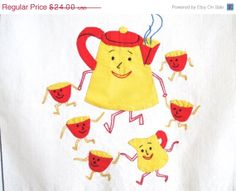 ON SALE  20 OFF Vintage Applique Towel Coffee Pot by NeatoKeen, $19.20
