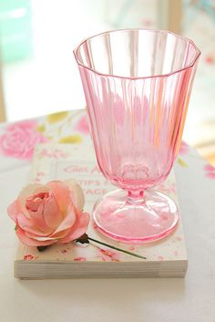 Shabby Chic pink glass, accessories are just as important as furniture pieces when decorating Shabby Chic