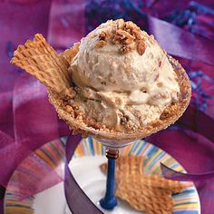 Homemade Pecan-Caramel Crunch Ice Cream    Praline lovers: This is your ice cream. Packed with crunchy bits of a homemade caramel crisp, this cream mixture has a caramel flavor and caramel topping.