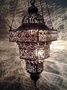 Antique Moroccan Style Pierced Large Pendant Chandelier Light Fixture. want this for my bedroom or living room.