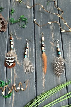 Set of 4 mismatched earrings Summer hippie feathered earrings Mix match ethnic earthy earrings set Beads and feathers turquoise boho earrings Handmade Shop, Etsy Handmade, Handmade Items, Handmade Gifts, Etsy Crafts, Feather Earrings, Wooden Beads, Decoration, Mix Match