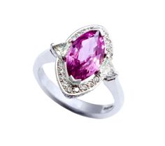 navette cut pink sapphire and diamond ring in white gold