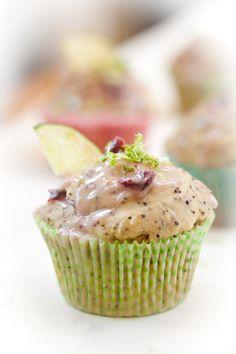 Cherry Lime Kañiwa Muffins - Vegan and Gluten-Free Gluten Free Desserts, Vegan Desserts, Vegan Gluten Free, Gluten Free Recipes, Delicious Desserts, Sweet Desserts, Paleo, Lime Quinoa, Vegan Muffins