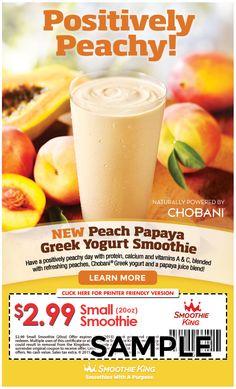 Papaya Juice, Chobani Greek Yogurt, Smoothie King, Vitamins, Protein, Coupon, Peach, Fruit, Food