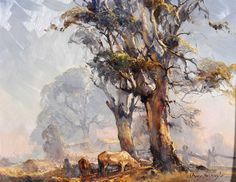 D'ARCY DOYLE, oil on wood panel, CATTLE AT DAWN Watercolor Landscape Paintings, Watercolor Trees, Landscape Art, Oil Paintings, Indigenous Australian Art, Australian Artists, Australian Painting, Nature Artwork, Traditional Paintings
