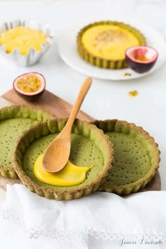 Filling matcha tarts with passion fruit curd filling