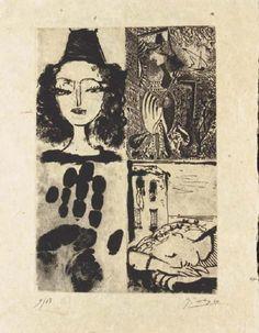 © Pablo Picasso- Illustrations pour- La Barre d'appui- Poèmes illustrés de Paul Éluard- Ed Cahiers d'Art, 1936.