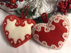 Felt Embroidered and Beaded Heart Ornaments
