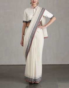 Ivory with Black Border Saree and Collared Blouse Set