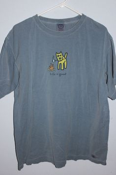 LIG Life Is Good Jakes Dog Camping T-Shirt XL Blue/Gray Campfire Marshmallow #LifeIsGood #GraphicTee