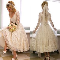 Vantage V-Neck Long Sleeve Tea Length White Lace Princess Wedding Party Dresses, WD0031