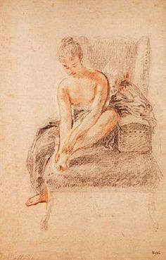 Sanguine et craie par Jean Antoine Watteau