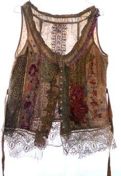 Pastorale unique shabby chic bodice textile by FleurBonheur, $224.00 #ad