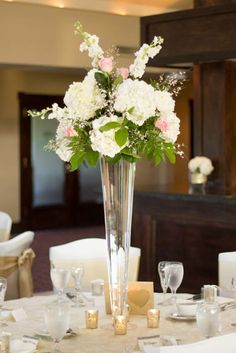 Tall White and Blush Floral Centerpiece - White and Gold Wedding at MetroWest Golf Club in Orlando Florida - Angelika Krug Photography - click pin for more - www.orangeblossombride.com