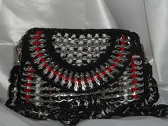 Purse handmade with recycled pop tabs. Small red/black/white