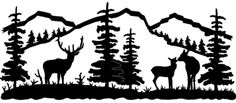 wildlife clip art silhouettes   Mountain Scene Deer Family Metal Wall Art (Powered by CubeCart)