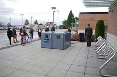 Bike lockers and racks at a transit station gives commuters the option to bike to transit.