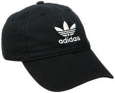 cc0826fbb58 ADIDAS Men s Originals Relaxed Strapback Cap Black w White Trifoil Logo OSFM   24  adidas