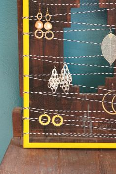 Earrings Holder. old frame and bakers twine