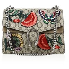 Gucci Dionysus Embroidered GG Canvas Shoulder Bag (€3.120) ❤ liked on Polyvore featuring bags, handbags, shoulder bags, apparel & accessories, chain strap handbag, brown purse, canvas purse, gucci handbags and shoulder hand bags