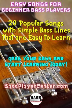 20 Popular Songs with Simple Bass Lines that are Easy to Learn - includes audio of songs with instructions and note! #EasyBassSongs #EasySongs #BassGuitarSongs #BassGuitarVideos Bass Guitar Scales, Play Guitar Chords, Learn Bass Guitar, Bass Guitar Lessons, Guitar Lessons For Beginners, Drum Lessons, Guitar Songs, Lessons Learned, Music Songs