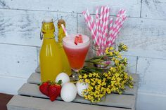 Egg Hunt is the prefect spring cocktail complete with fresh pressed strawberry Strawberry Cocktails, Spring Cocktails, Egg Hunt, Easter, Fresh, Table Decorations, Home Decor, Decoration Home, Interior Design