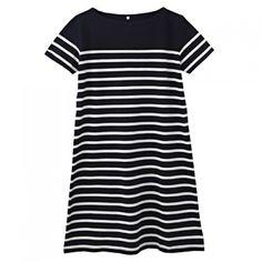 Women Dry Cotton UV Cut Short Sleeves Border Dress