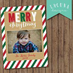 Christmas Card, Photo Christmas Card, Red and Green Stripe, Merry Christmas, Happy Holidays, Holiday Card, DIY Printable Christmas Card