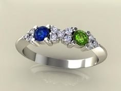 mothers rings | Home / 2 Birthstone Mothers Ring With .11 carats of Fine Diamonds by ...