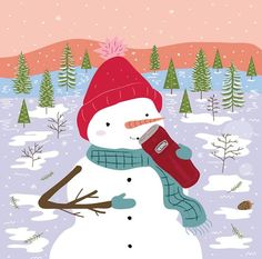 Even chilly snowmen can't resist delicious hot cocoa!