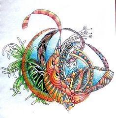 This is so joyful - color pencil zentangle