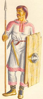 Slavic tribal warrior 3th-4th AD. Arms: big and strong shield, a spear, an axe or a combat knife. No armour.