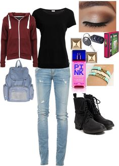 """""""first day back at school :("""" by lariidahh ❤ liked on Polyvore"""