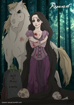 Messed Up Collection of Dark and Twisted Disney Character Art — GeekTyrant Disney Rapunzel, Disney Pixar, Disney Fan Art, Twisted Disney Princesses, Disney E Dreamworks, Film Disney, Disney Princess Art, Disney Love, Disney Characters