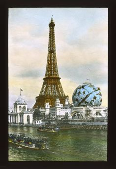 Eiffel Tower and Celestial Globe, Paris, France, during the Universal Exposition, postcard Paris Torre Eiffel, Paris Eiffel Tower, Eiffel Towers, Vintage Paris, French Vintage, Kitzingen Germany, Vacation Ideas, Paris 1900, I Love Paris