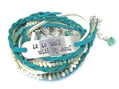 """Leather Hand Stamped """"It Is Well With My Soul"""" Wrap Bracelet  by AllStrungOut925"""
