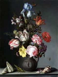 The Athenaeum - Flowers in a Vase with Shells and Insects (Balthasar van der Ast - )
