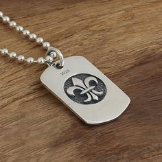 """Men's Sterling Silver France Fleur De Lis Tag Necklace with Sterling Silver Bead Chain 18""""-30"""""""