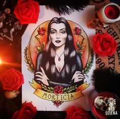 Morticia Addams traditional tattoo flash by RedSelena Morticia Addams, Gomez And Morticia, Addams Family Tattoo, Desenhos Old School, Pin Up Retro, Estilo Dark, Flash Tattoo, Tattoo Symbole, Tatuaje Old School