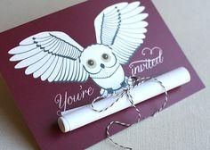 Fantastic Brown DIY Party Invitation Design Idea with White Owl ...