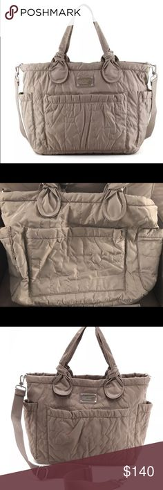 Marc Jacobs Elizabeth Diaper Bag Gray Authentic Marc by Marc Jacobs quilted nylon baby bag with changing pad. Smoke free & pet free home.  Gray but more of a brown gray color. Marc By Marc Jacobs Bags Baby Bags